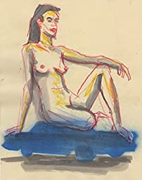 Nude seated on a blue car