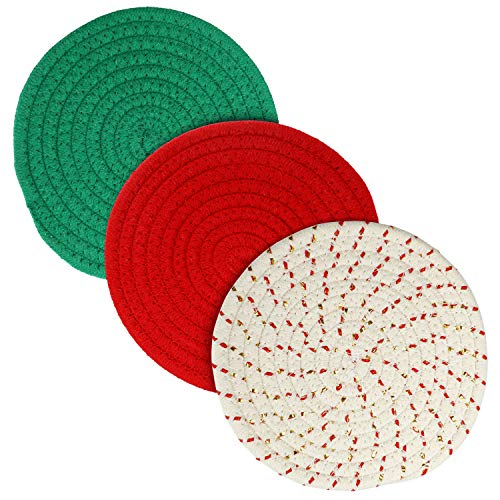 Potholders Set, Christmas Home Decor Kitchen Pot Holders Thick Trivets Set of 3 Hot Coasters, Hot Pads, Hot Mats Spoon Rest with Gift Ribbon Packing for Cooking Baking by Diameter 7 Inches (Red)