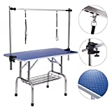 Dog Grooming Table, Adjustable Clamp Overhead Pet Grooming Arm with Double Grooming Loop (46'' by 24'')