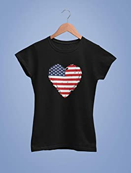 4th of July Gift American Toddler//Kids Long Sleeve T-Shirt 5//6 Pink USA Flag Tie