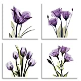 HLJ ART 4 Panel Elegant Tulip Purple Flower Canvas Print Wall Art Painting For Living Room Decor And Modern Home Decorations Photo Prints 12x12inch(Wood Framed) Picture