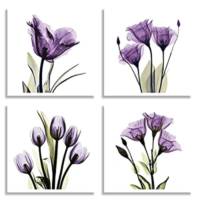 "HLJ ART 4 Panel Elegant Tulip Purple Flower Canvas Print Wall Art Painting for Living Room Decor and Modern Home Decorations Photo Prints 12x12inch (Purple S) - Great Brand:Original Honest HLJ ART (We promise the Canvas Prints from ""HLJ ART "" is exactly same as the descriptions and images,Please make sure from ""HLJ ART "" and feel free to choose and buy.) A perfect choice for bedroom living room and office Wall decoration, a great halloween gift idea for your friends and relatives Purple flower photo painting is printed on high quality canvas. - wall-art, living-room-decor, living-room - 51QkNdxn%2B6L. SS400  -"