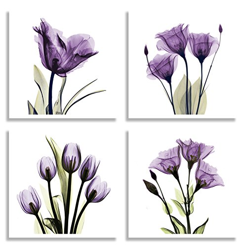 HLJ ART 4 Panel Elegant Tulip Purple Flower Canvas Print Wall Art Painting  For Living Room Decor And Modern Home Decorations Photo Prints  12x12inch(Wood ...