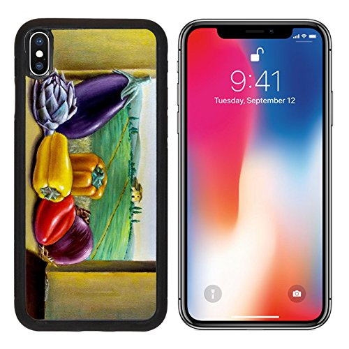MSD Premium Apple iPhone X Aluminum Backplate Bumper Snap Case Assorted vegetables on a window overlooking a country landscape Original oil IMAGE 31970367 - Artichoke Windows