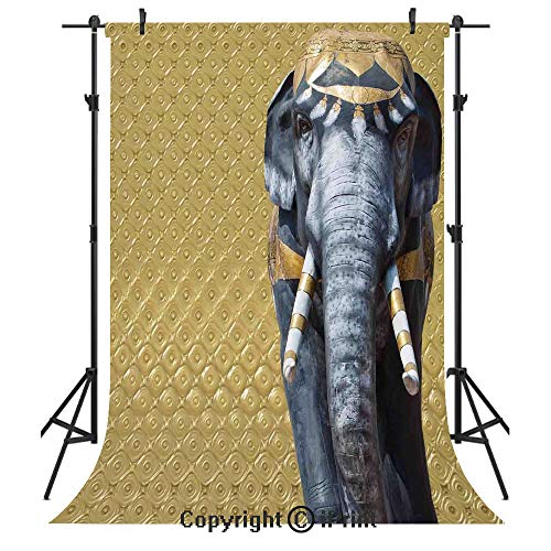 Elephants Decor Photography Backdrops,Elephant Statue on Abstract Background Baroque Victorian Swirly Royal Classic Decorative,Birthday Party Seamless Photo Studio Booth Background Banner - Swirly Snow
