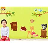 Forest Animal Cartoon Removable Wall Stickers For Kids Room Home Decor Diy Wallpaper Art Decals
