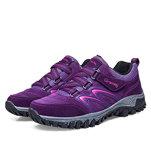 gracosy Hiking Shoes for Women, Sport Outdoor Suede Sneakers Trekking Walking Purple