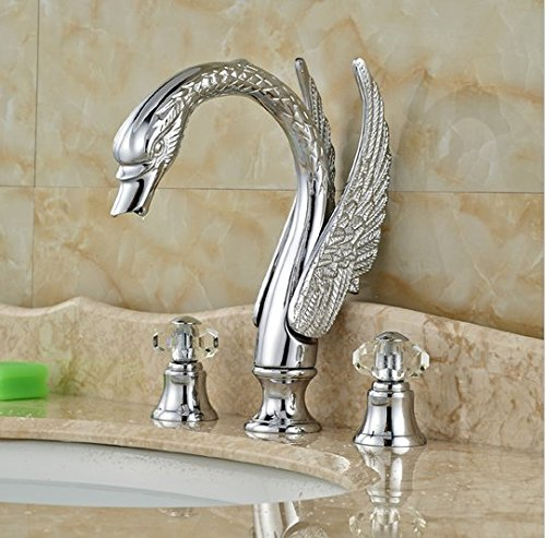 GOWE Swan Style Deck Mount Bathroom Dual Handle Basin Sink Faucet Chrome Finished 3 Holes 4