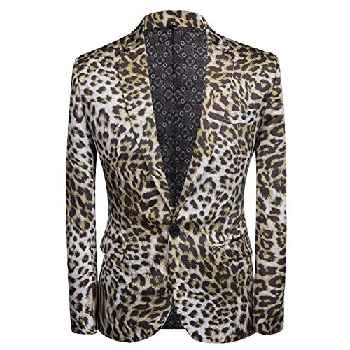 Mens Fashion Slim Fit Suit Jacket Casual Print Shiny One Button Blazer Coat Brown