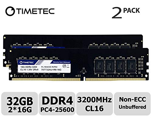 (Timetec Extreme Performance Hynix IC 32GB KIT(2x16GB) DDR4 3200MHz PC4-25600 CL16 1.35V Unbuffered Non-ECC for Gaming and High-Performance Compatible with AMD and Intel Desktop Memory(32GB KIT(2x16GB))
