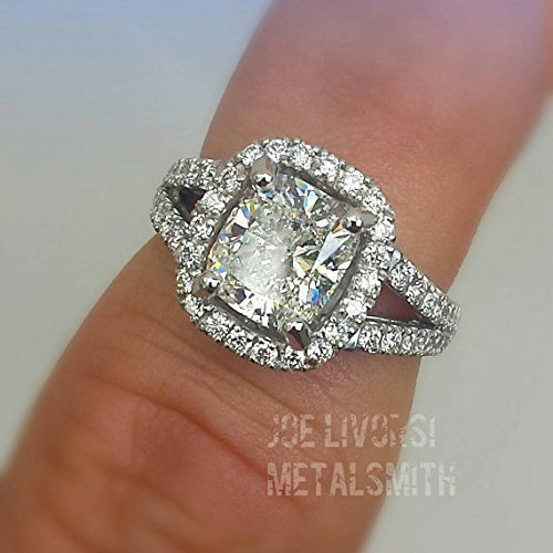 Amazon Com 2 75 Ct Cushion Cut Diamond Engagement Ring Handmade In
