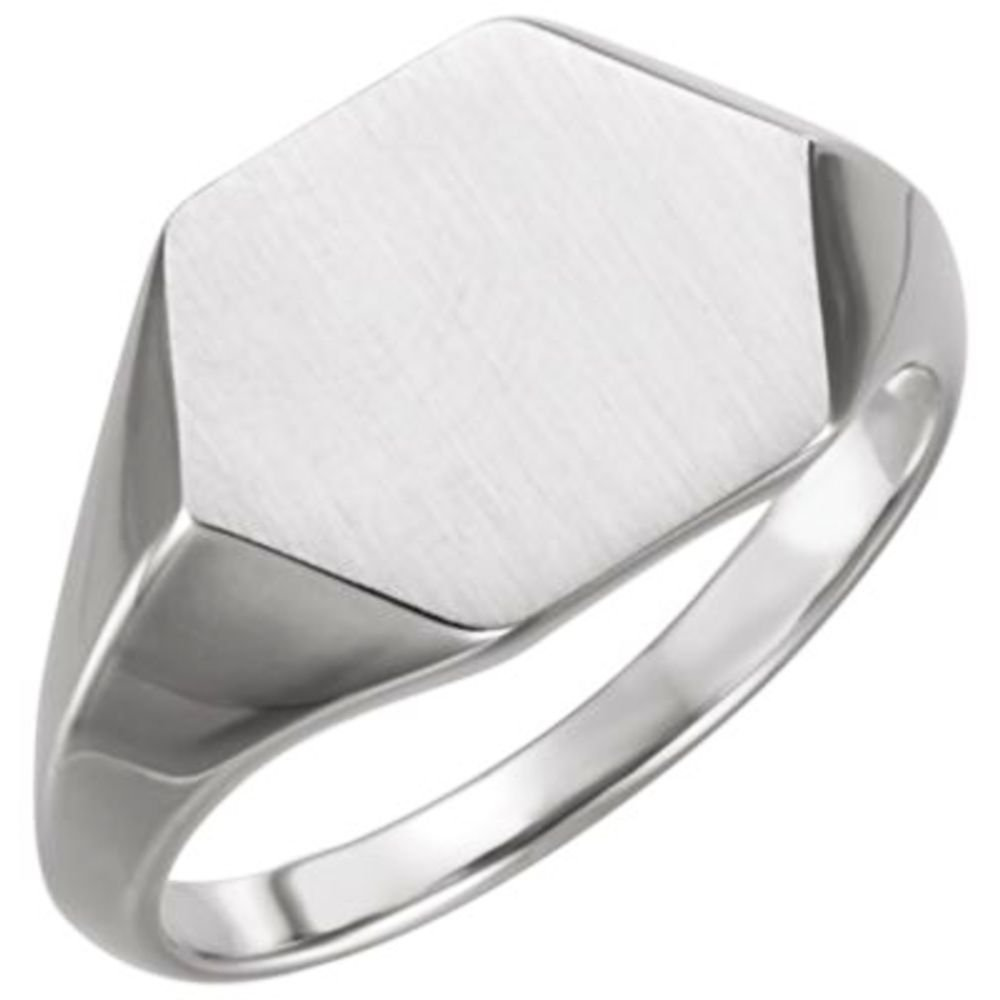 Bonyak Jewelry Sterling Silver 14 mm Geometric Signet Ring Size 11