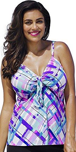 Shore Club Women's Plus Size Watercolor Me Happy Tie Front Tankini Top Multi 20