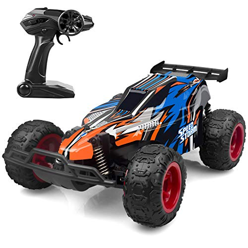 JEYPOD Remote Control Car, 2.4 GHZ High Speed Racing Car with 4 Batteries, Blue ()