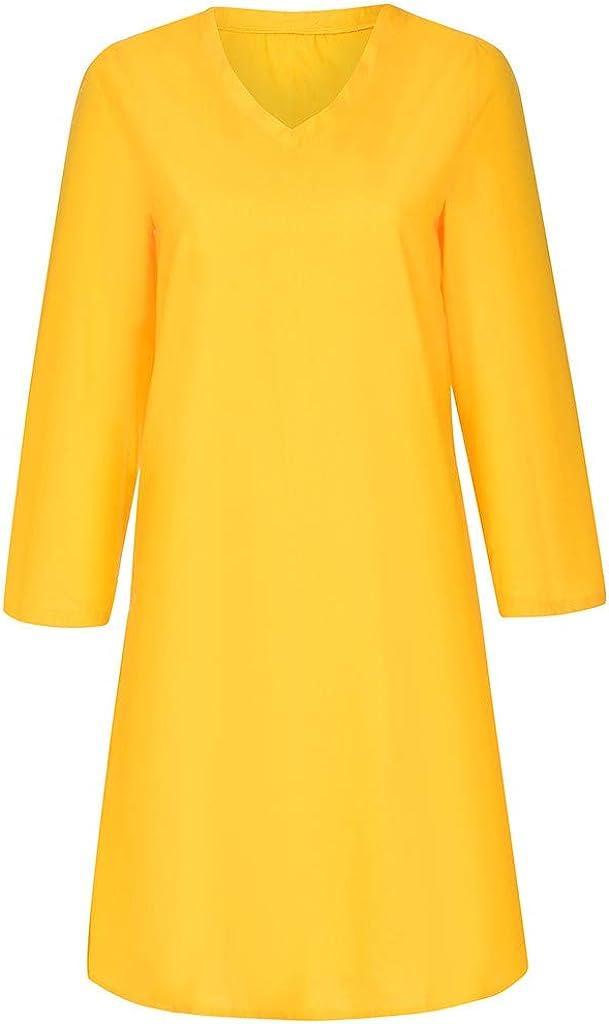 Longra-Vestiti Estivi Donna Taglie Forti Estate Vestiti Casual Eleganti Corti Manica Corta V-Collo Cotone E Lino T-Shirt Lunga Manica Corta Vestiti Camicia Donna Mini Abito Gonne
