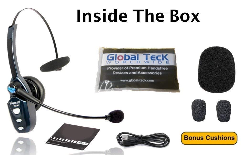 BlueParrott B250-XT Bluetooth Headset 204123 Bundle - Includes B250-XT Trucker Bluetooth Headset w/ Bonus Mic Foam Cushions | Auriculares Bluetooth Inalambricos de Blue Parrot by Global Teck Worldwide (Image #3)