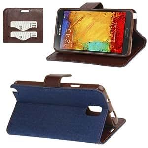 Denim Texture Horizontal Leather Case Funda Flip Cover con Holder & bolsillos internos para Samsung Galaxy Note 3 N9000 (Dark Blue)