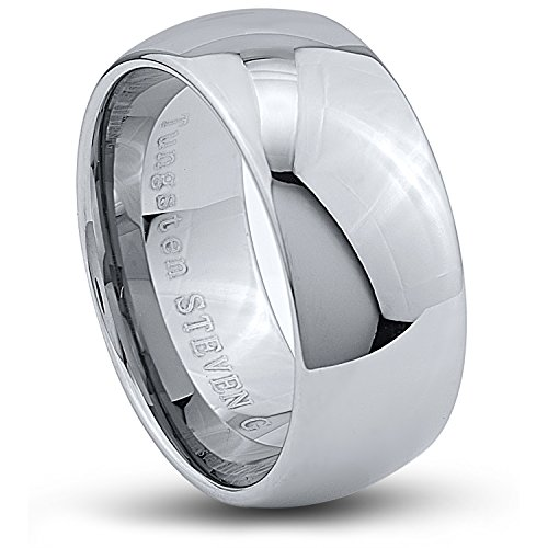 STEVEN G Tungsten Carbide Band Style Wedding Ring 10mm Wide High Polished Dome Shape Durable Comfort Fit