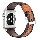 penen Compatible Apple Watch Band 38mm 42mm Leather iWatch Strap Replacement Band Leather Watch Sport Loop Band Replacement with Stainless Metal Buckle for Apple Watch Nike+ Series 3,2,1