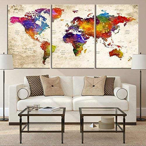 Modern Full Color Push Pin World Map Canvas Print