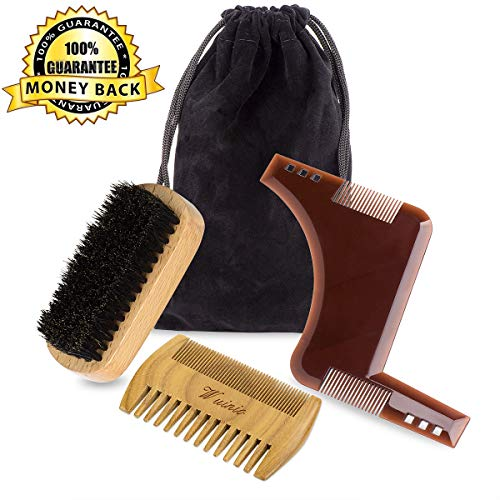 Beard Brush and Comb Set for Men Beard & Mustache Care, Grooming &Shaping Facial Hair Care Gift Kit,Natural Boar Bristle Brush & Sandalwood Dual Action Teeth Comb& Beard Shaper Template for Men