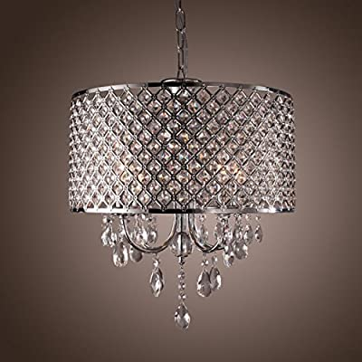 Create for Life 4 Lights Modern Chandeliers Pendant Light with Crystal Drops in Round Design, Ceiling Light Fixture for Dining Room, Bedroom, Living Room