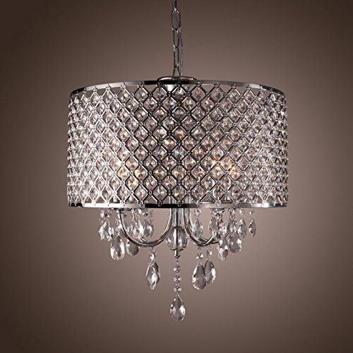 Create For Life 4 Lights Modern Chandeliers Pendant Light With Crystal Drops In Round Design Ceiling Fixture Dining Room Bedroom Living