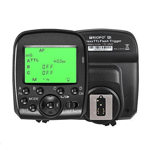 Andoer TRIOPO G1 Dual TTL Wireless Trigger with Widescreen LCD Display 1/8000s HSS 2.4G Wireless Transmission 16 Channels for Canon Nikon Series Cameras