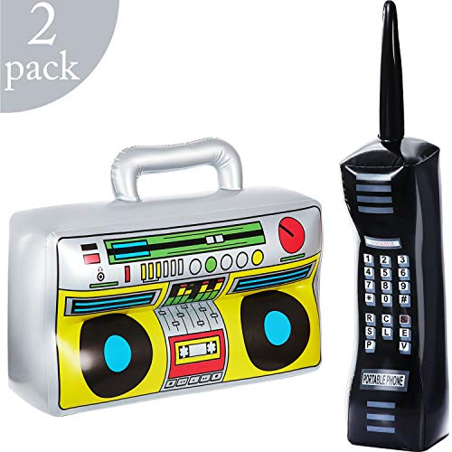 Halloween Themed Radio (2 Pieces Inflatable Radio Boombox Inflatable Mobile Phone Props for 80s 90s Party)