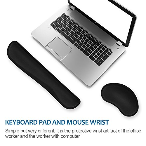 HENVREN Memory Foam Keyboard and Mouse Wrist Rest, Lightweight Support Pad for Easy Typing&Pain Relief, Durable&Comfortable Wrist Cushion Fit for Office, Computer and Home by HENVREN (Image #2)'