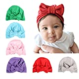 Ru Sweet Newborn Hospital Hat Cap - 6 Pcs Newborn Girl Nursery Beanie Hospital Hat with Big Bow