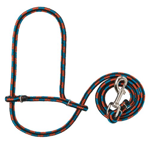 Weaver Leather Poly Rope Sheep Halter with Snap, Black/Blue/Orange (Poly Rope Halter)