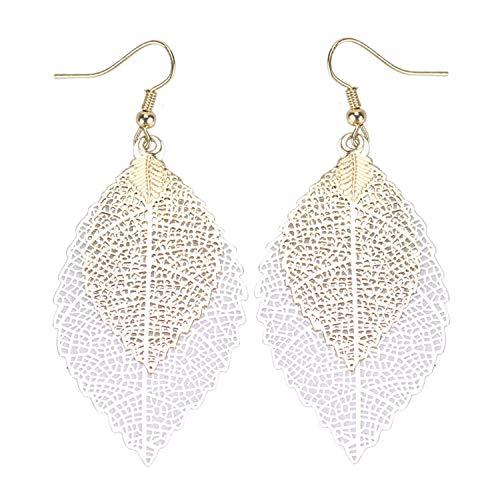 Luxury Double Color Leaf Dangle Earrings Vintage Leaves Long Tassels Earring for Women Jewelry Gold Silver ()