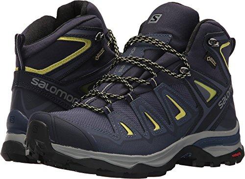 Salomon X Ultra 3 Mid GTX Hiking Boots Womens, Crown Blue/Evening Blue/Sunny Lime, L39869100-10.5