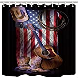 hole in one american pie - GoEoo Western Shower Curtains for Bathroom Cowboy Roper Boots with Guitar on American Flag Polyester Fabric Waterproof Bath Curtain Shower Curtain Hooks Included 69X70in