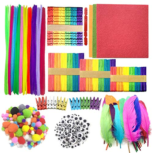 (Wartoon Pipe Cleaners Chenille Stem and Pompoms with Googly Wiggle Eyes and Craft Sticks Non-Woven Felt Fabric Sheets for Craft DIY Art Supplies, 742)