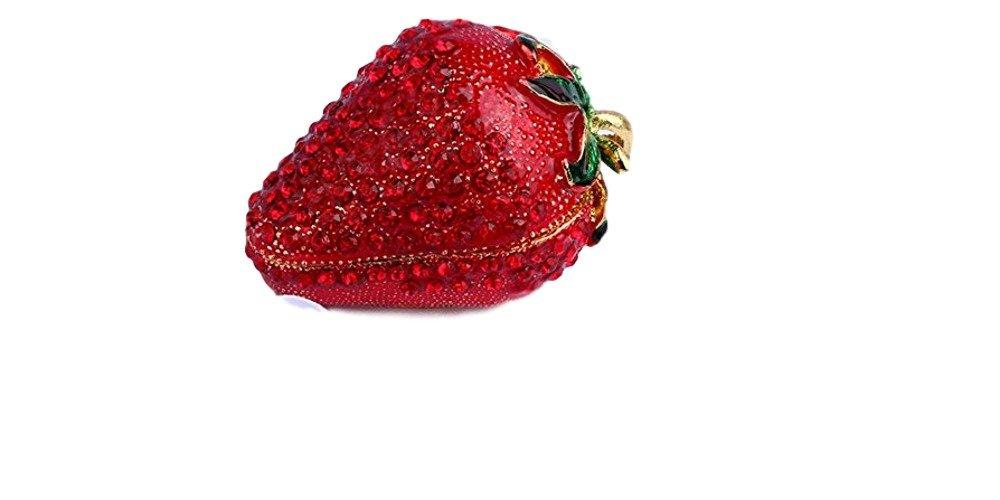 Caja con forma de fresas Bejeweled esmalte peltre caja 2,5