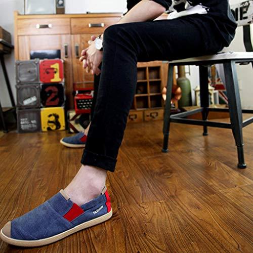 da WangKuanHome denim tendenza Size casual Blue da scarpe selvaggia uomo Gray Scarpe estiva tela di 43 scarpe scarpe tela uomo Color di C7CqA