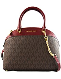 EMMY Womens Shoulder Handbag LARGE DOME SATCHEL (Brown/Cherry) 6997
