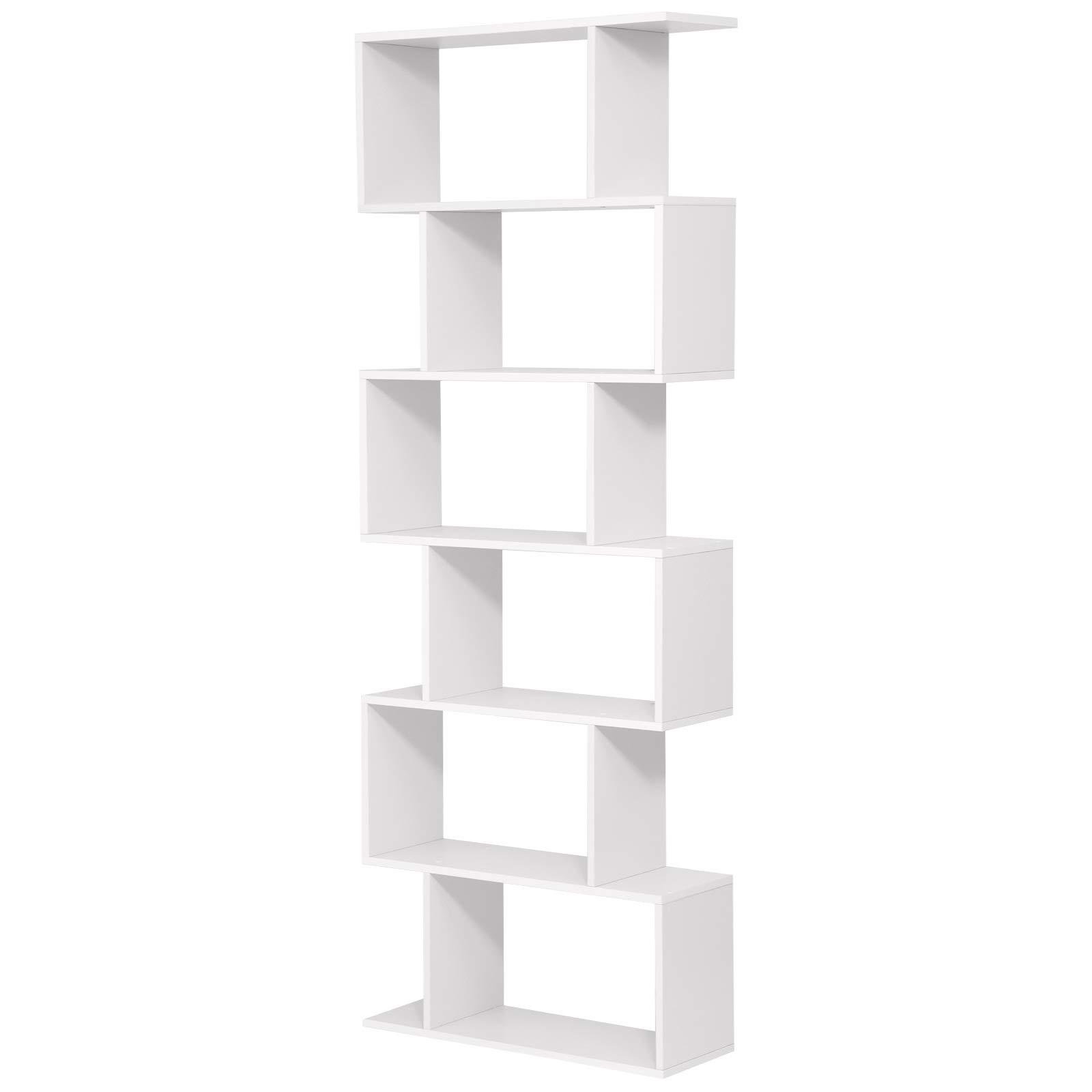 VASAGLE Wooden Bookcase, Cube Display Shelf and Room Divider, 6-Tier Bookshelf, Freestanding Shelving Unit, White LBC61WT