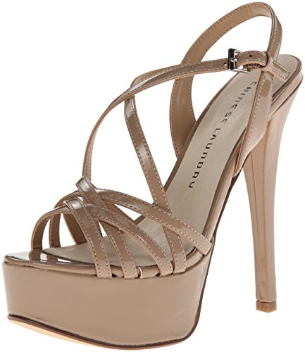 Chinese Laundry Women's Teaser Platform Dress Sandal, Nude Patent, 8 M US