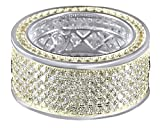 White Cubic Zirconia Men's Wedding Band Ring in 14k White Gold Over Sterling Silver