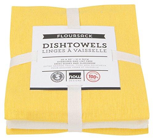 (Now Designs Floursack Kitchen Towels, Set of Three, Lemon Yellow/White)