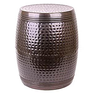 Hosley Antique Bronze Hammered Metal Garden Stool, End Table. 19 By 14-inch. Handcrafted By Artisans Using Centuries Old Hammer Pattern Technique