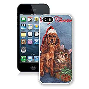 Custom-ized Merry Christmas Cute Dog and Cat Iphone 5s Case,Phone Case For Iphone 5,Iphone 5 White TPU Cover by lolosakes