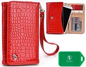 Universal smartphone holder/wristlet- Faux Crocodile Pattern- red- Universal fit for Sony Xperia GX S0-04D