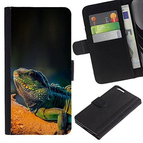 EuroCase - Apple Iphone 6 PLUS 5.5 - Cool Majestic Iguana Lizard - Cuir PU Coverture Shell Armure Coque Coq Cas Etui Housse Case Cover