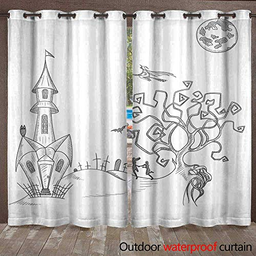 RenteriaDecor Outdoor Ultraviolet Protective Curtains White Background with Hand Drawn Halloween Decoration W72 x L84 ()