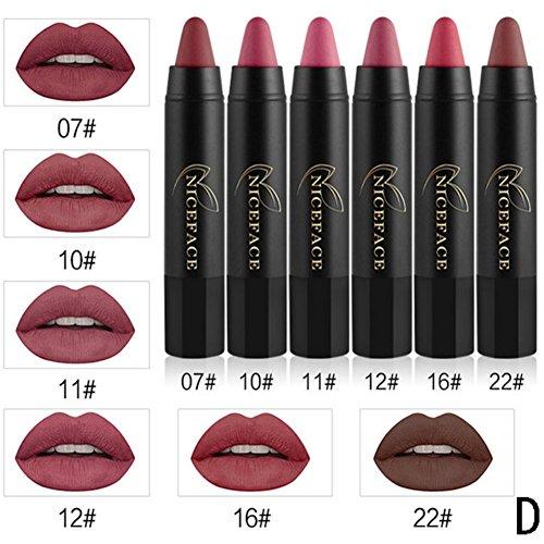 RedDhong 6 Pcs/Set Pencil Long Lasting Lipliner Matte Waterproof Makeup Lipstick