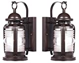 Westinghouse 6230100 Weatherby One-Light Exterior Wall Lantern, Weathered Bronze Finish on Steel with Clear Glass - 2 Pack